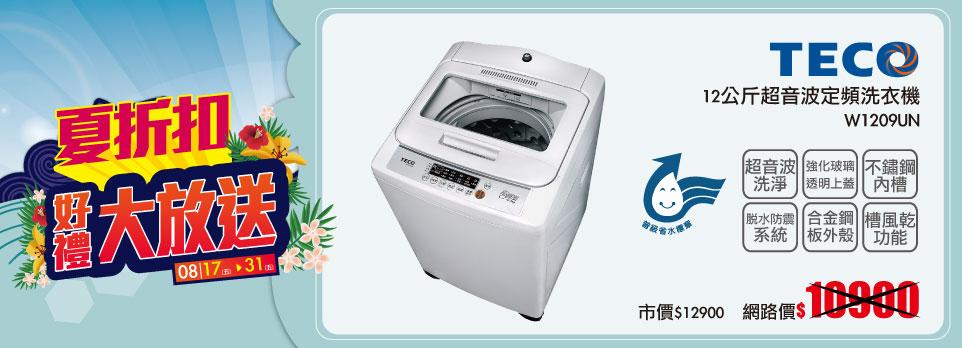 東元 12公斤超音波定頻洗衣機 W1209UN
