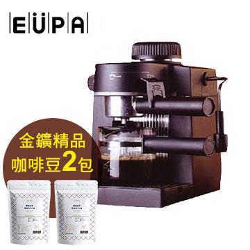 EUPA義大利式咖啡機+金&#37979精品莊園咖啡豆2包(每包半磅)