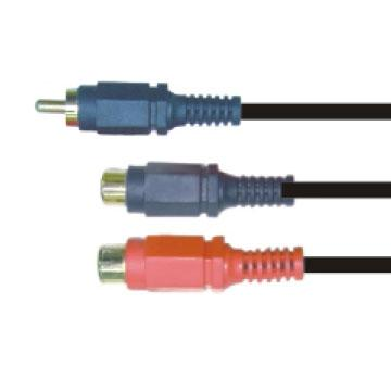 大通3.5mm立體公頭轉3.5立體母座*2轉接線(PAVG-303)