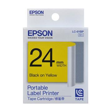 EPSON 24mm粉彩系列黃底黑字標籤帶(C53S627004(LC-6YBP))