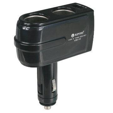 KINYO車用點煙器擴充座+USB充電(CRU-14)