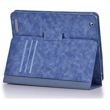 X-doria New iPad/2牛仔布紋皮套-藍/含水晶螢幕保護貼組()