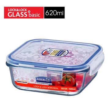 【福利品】Lock&Lock620ML微烤兩用玻璃保鮮盒(方型)(LLG221)