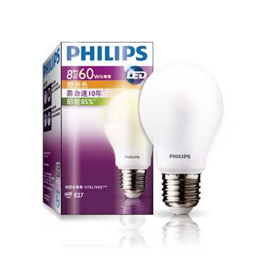 飛利浦LED球型燈泡8-60瓦黃光(120V)(929000250315)