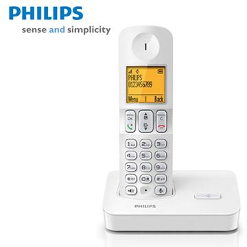 【福利品】PHILIPS時尚白中文數位無線電話D4001W(D4001W)
