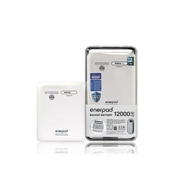 【12000mAh】ENERPAD 大容量行動電源-白