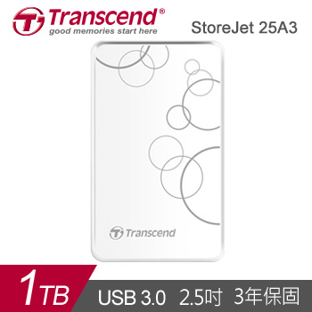 【1TB】創見 StoreJet 25A3 2.5吋 行動硬碟(TS1TSJ25A3W)