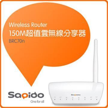 SAPIDO 150M超值雲無線分享器(BRC70n)