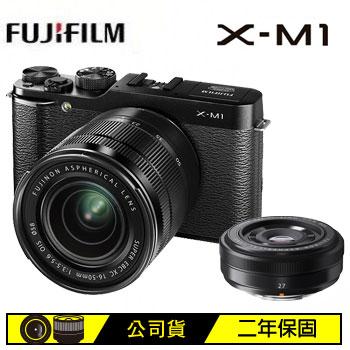 富士 XM1可交換式鏡頭相機雙鏡組-黑(XM1黑雙鏡組)