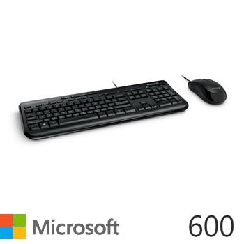 微軟標準滑鼠鍵盤組600(黑)(APB-00017)