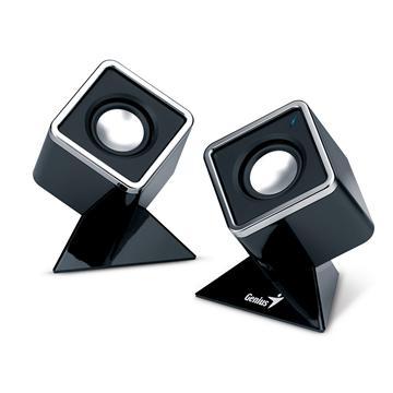 Genius 二件式立體聲喇叭-黑(SP-D120 晶鑽方塊(黑))