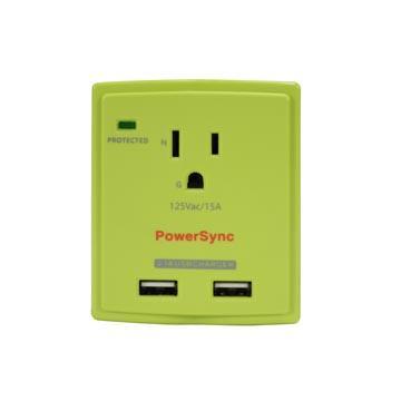 群加2埠USB單孔防雷擊抗突波壁插【綠】(PWS-EXU2015)