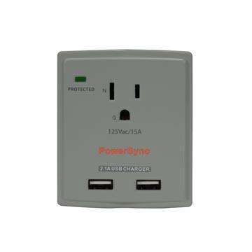 群加2埠USB單孔防雷擊抗突波壁插【灰】(PWS-EXU2018)