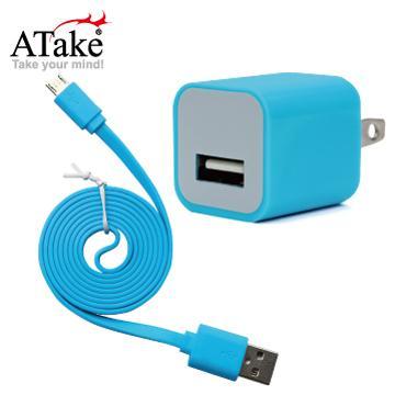 ATake AC轉USB插頭+Micro 5Pin充電線(SAC-FLSCKIT-BL)