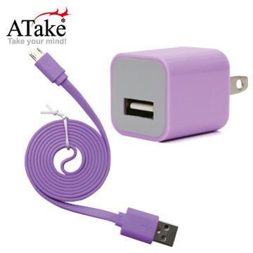 ATake AC轉USB插頭+Micro 5Pin充電線(SAC-FLSCKIT-PU)