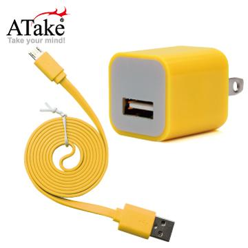 ATake AC轉USB插頭+Micro 5Pin充電線(SAC-FLSCKIT-YW)