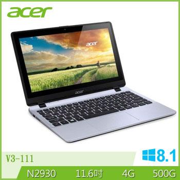 ACER 四核Win8觸控輕巧筆電(V3-111P-C7QN銀)