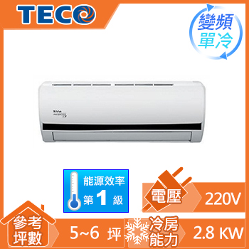 TECO雅適一對一變頻單冷空調MS-BV28IC