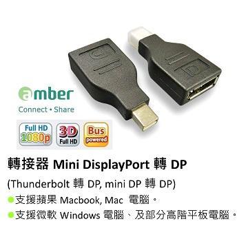 Amber mini DisplayPort 轉 DP 轉接頭
