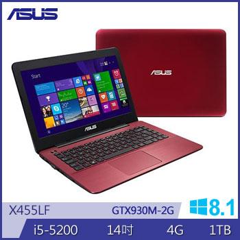 華碩 5代i5 2G獨顯筆電(X455LF-0073F5200U紅)
