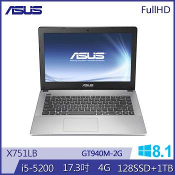 ASUS X751LB Ci5 NV940獨顯筆電(黑)(X751LB-0033C5200U黑)