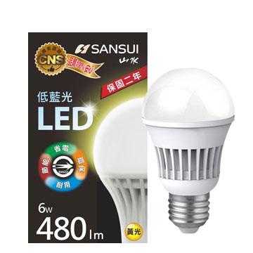 山水 6W 全電壓LED燈泡(黃光)(MA2S04-6)