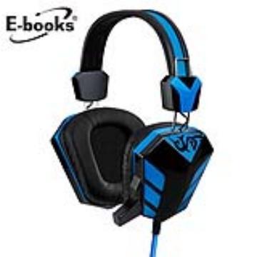 E-books S28電競音控頭戴耳機麥克風-藍
