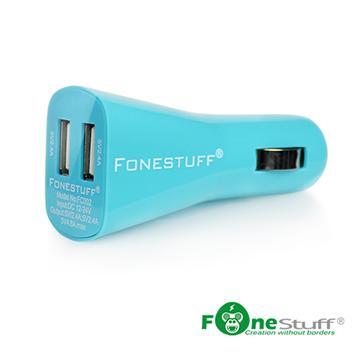 FONESTUFF 4.8A超快速雙USB車充-藍(FC002(BL))