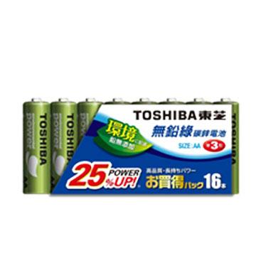 東芝無鉛綠3號電池16入(R6UE)