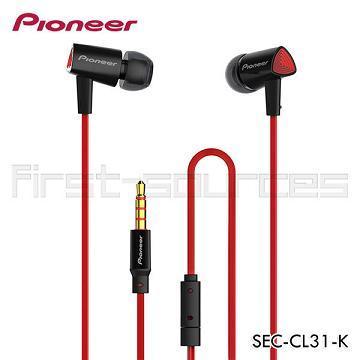 Pioneer SEC-CL31三角立體聲耳機-黑紅(SEC-CL31-K)