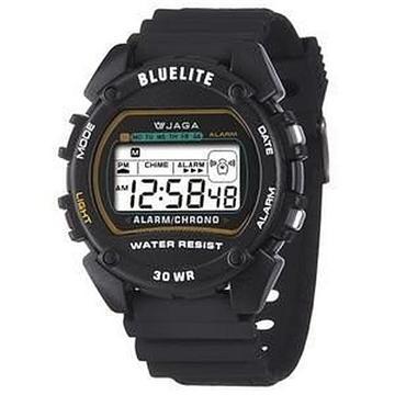 JAGA 捷卡 M175-A 薄型多功能電子錶-黑(M175-A 黑)