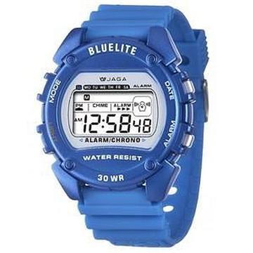 JAGA 捷卡 M175-E 薄型多功能電子錶-藍(M175-E 藍)