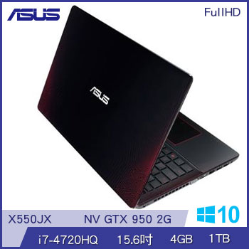 ASUS X550JX Ci7 GTX950 獨顯筆電(X550JX-0103J4720HQ黑紅)