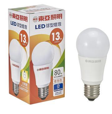 東亞13W LED全電壓球型燈泡-燈泡色(LLA012-13AAL)