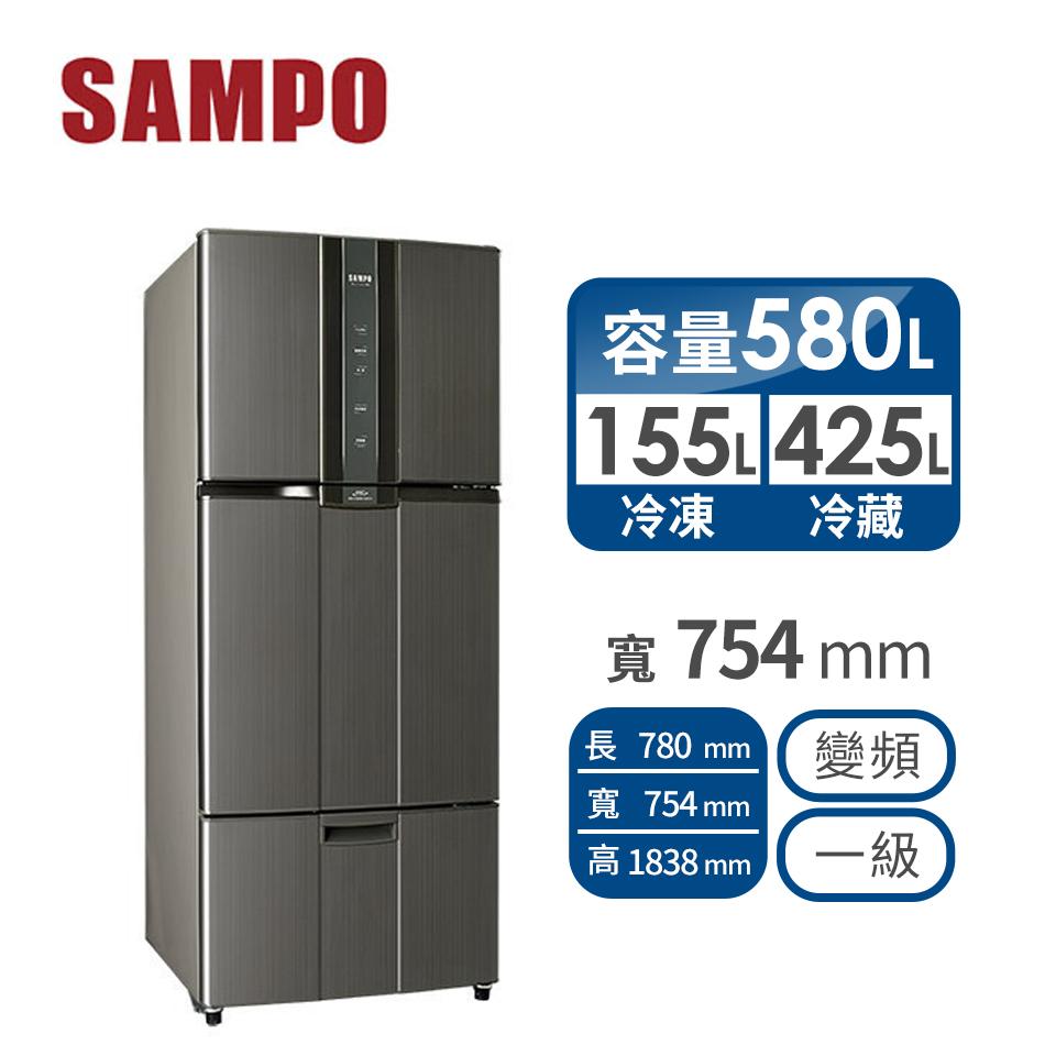 聲寶 580公升1級三門變頻冰箱(SR-N58DV(K2))