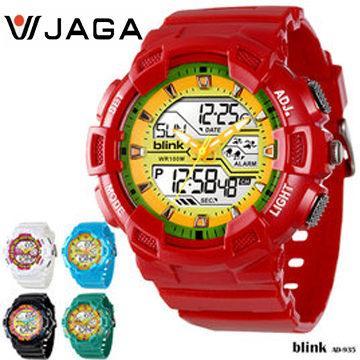 JAGA 捷卡 BLINK系列 AD935 多功能防水手錶(AD935-GK-紅黃)