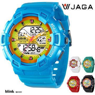JAGA 捷卡 BLINK系列 AD935 多功能防水手錶(AD935-EK-藍黃)