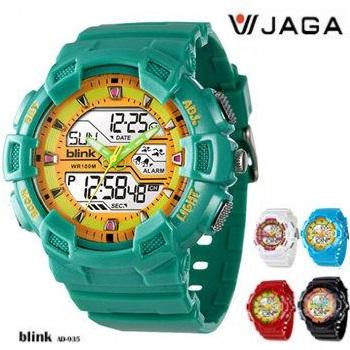 JAGA 捷卡 BLINK系列 AD935 多功能防水手錶(AD935-FI-綠橙)