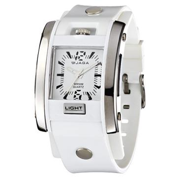 JAGA 捷卡 AQ81-D 防水指針錶-白(AQ81-D)