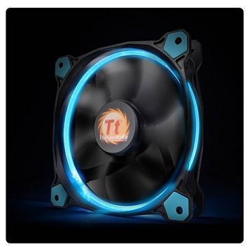 曜越Riing 12CMLED高風壓水冷排風扇(藍光)(CL-F038-PL12BU-A)