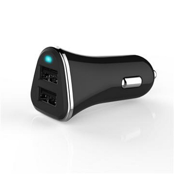 Q PNP 2.4A雙USB車充-黑(QCC-06)