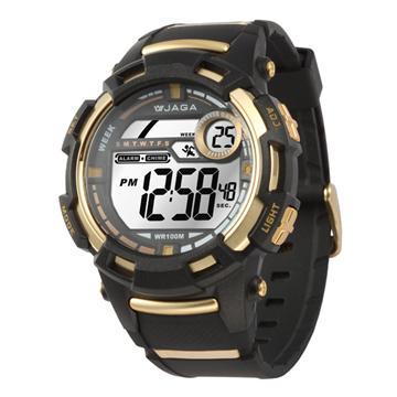 JAGA 捷卡 M819-AL 防水多功能電子錶-黑金(M819-AL)