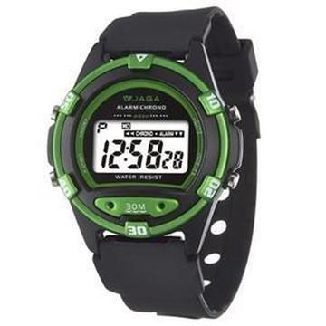 JAGA 捷卡 M267-AF 防水運動電子錶-黑綠(M267-AF)