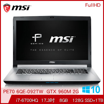 【混碟款】MSI PE70 Ci7 GTX960 電競獨顯筆電(PE70 6QE-092TW) | 快3網路商城~燦坤實體守護