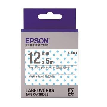 EPSON LK-4BA1白底粉藍點灰字標籤帶