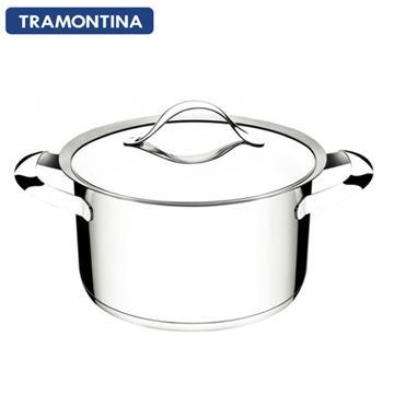 TRAMONTINA 24公分雙耳大湯鍋6L(DUO 白金系列)