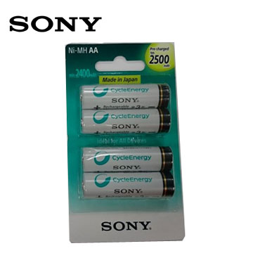 SONY新型低自放充電電池3號4入(2500mAh)(NH-AA-B4GN)