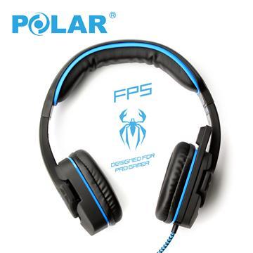 Polar 電競耳罩式線控耳機麥克風-黑