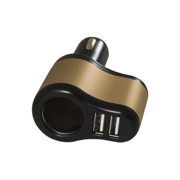黑米車用點煙器+3.1A雙USB擴充座-黑金(QCC-07)