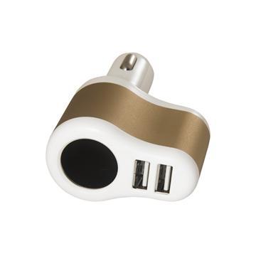 黑米車用點煙器+3.1A雙USB擴充座-白金